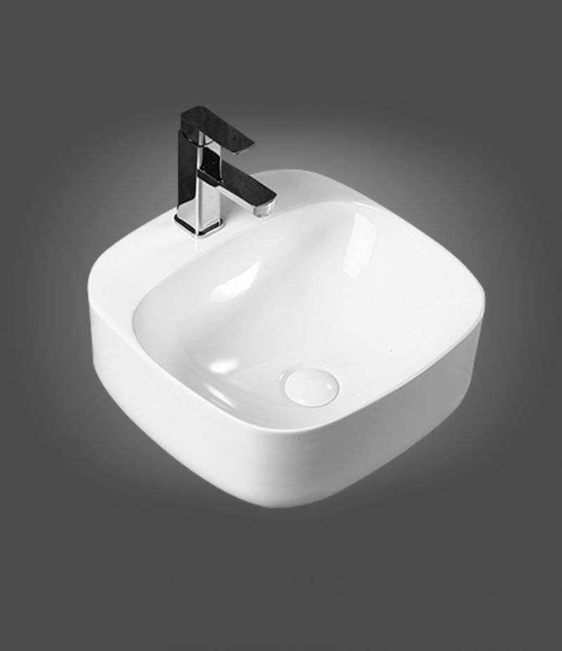 Lavabo da appoggio Quadrato 42x42 cm in ceramica Bianco Lucido con foro rubinetteria