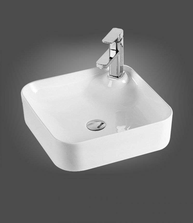 Lavabo da appoggio Quadrato 42,5x42,5 cm in ceramica Bianco Lucido