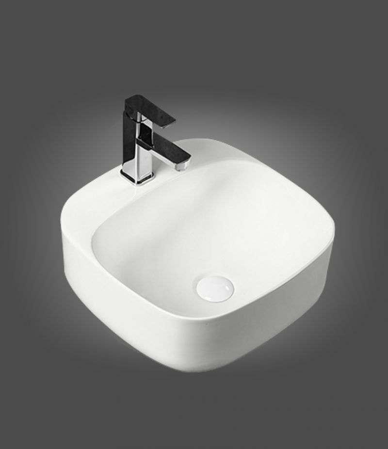 Lavabo da appoggio Quadrato 42x42 cm in ceramica Bianco Opaco