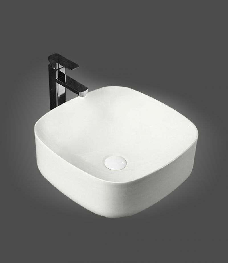 Lavabo da appoggio Quadrato 42x42 cm in ceramica Bianco Opaco senza foro troppopieno