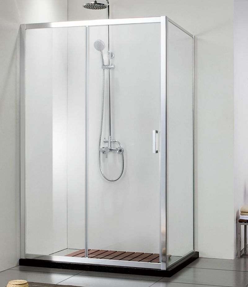 Box doccia 80x100 cm scorrevole con lato fisso cristallo trasparente anticalcare 6 mm profili cromo