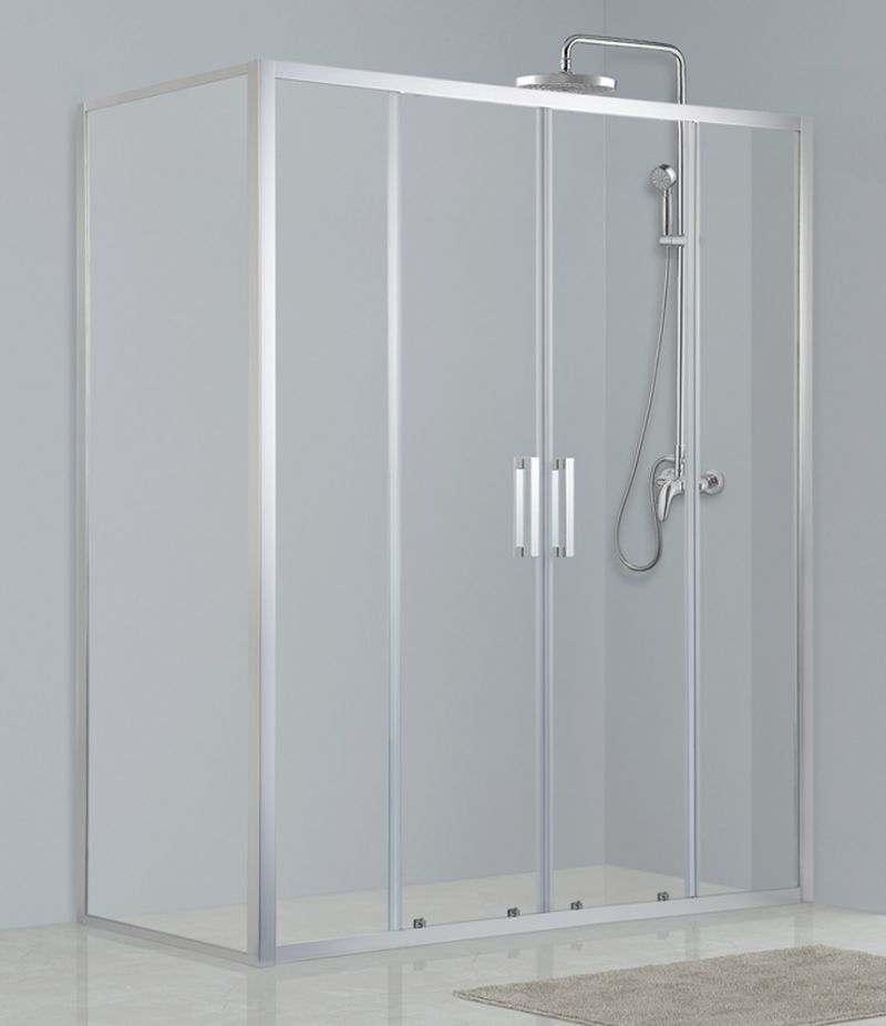 Box doccia 80x180 cm scorrevole con lato fisso cristallo trasparente anticalcare 6 mm profili cromo