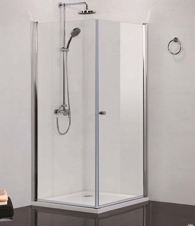Box doccia 80x90 cm battente con lato fisso cristallo trasparente 6 mm alluminio cromato