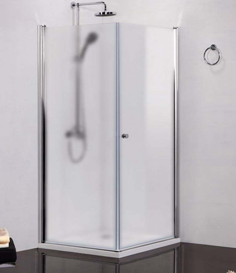 Box doccia 80x100 cm battente con lato fisso cristallo opaco 6 mm alluminio cromato