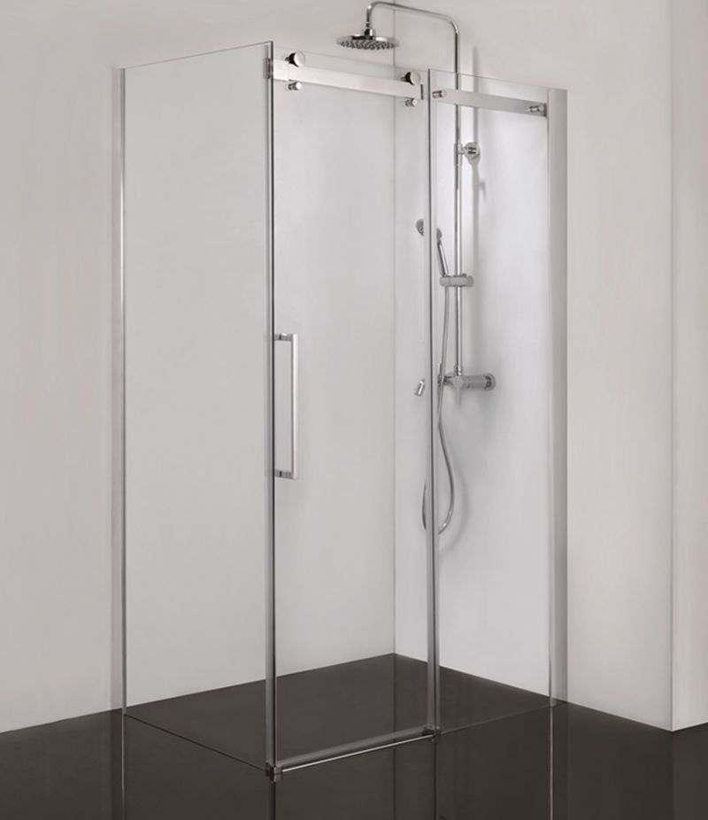 Box doccia 80x100 cm scorrevole con lato fisso cristallo trasparente anticalcare 8 mm profili cromo