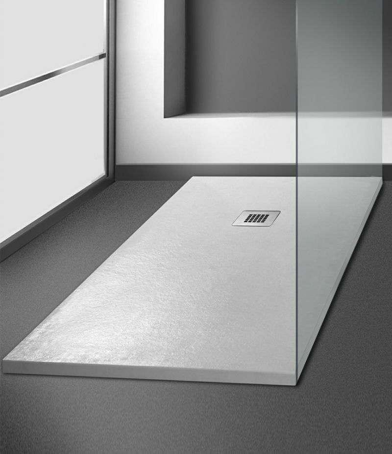Piatto doccia 70x140 cm h. 2,7 cm riducibile effetto pietra bianco