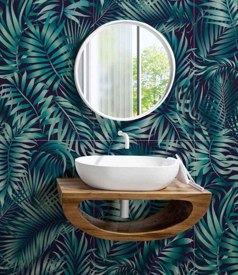 Mobile bagno sospeso OTTO SMALL 80 cm in Suar wood con lavabo e specchio CIPÌ
