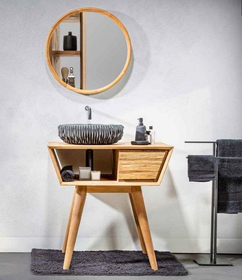 Mobile bagno PADAT 80 cm in Teak naturale con lavabo, specchio e accessori CIPÌ