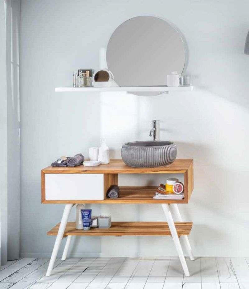 Mobile bagno FEEL GOOD SMALL 100 cm in Teak con lavabo, specchio e accessori CIPÌ