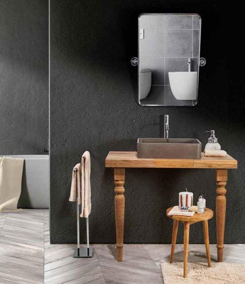 Mobile bagno PERFETTO 100 cm in Teak listellare con lavabo, specchio e accessori CIPÌ