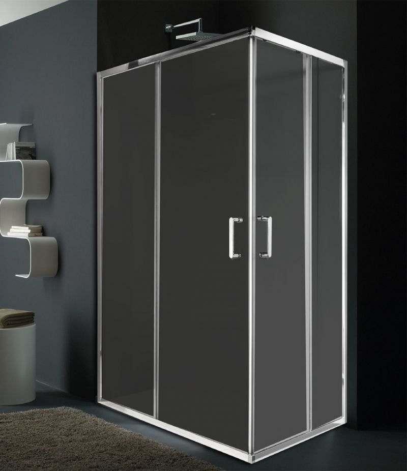 Box doccia 70x100 cm angolare scorrevole in cristallo trasparente 6 mm profili in alluminio