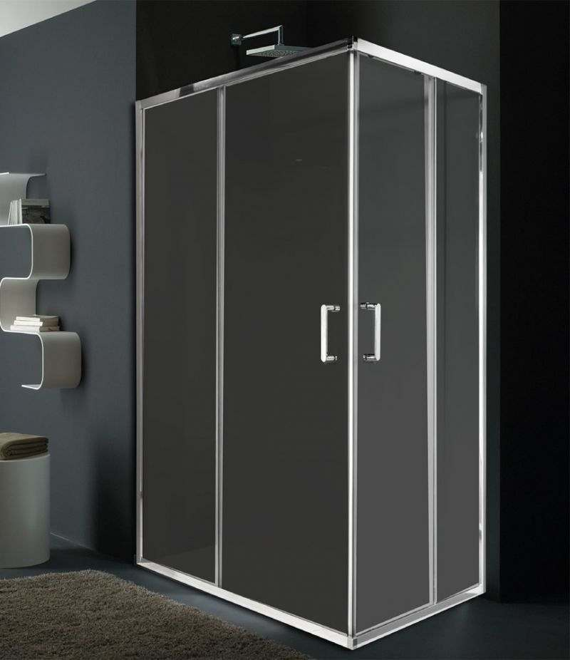 Box doccia 80x100 cm angolare scorrevole in cristallo trasparente 6 mm profili in alluminio