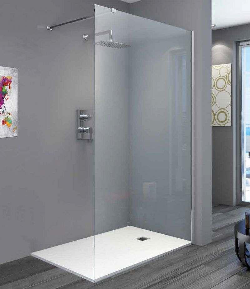 Parete doccia Walk-in KOR 140 cm in cristallo trasparente anticalcare 8 mm profili in alluminio