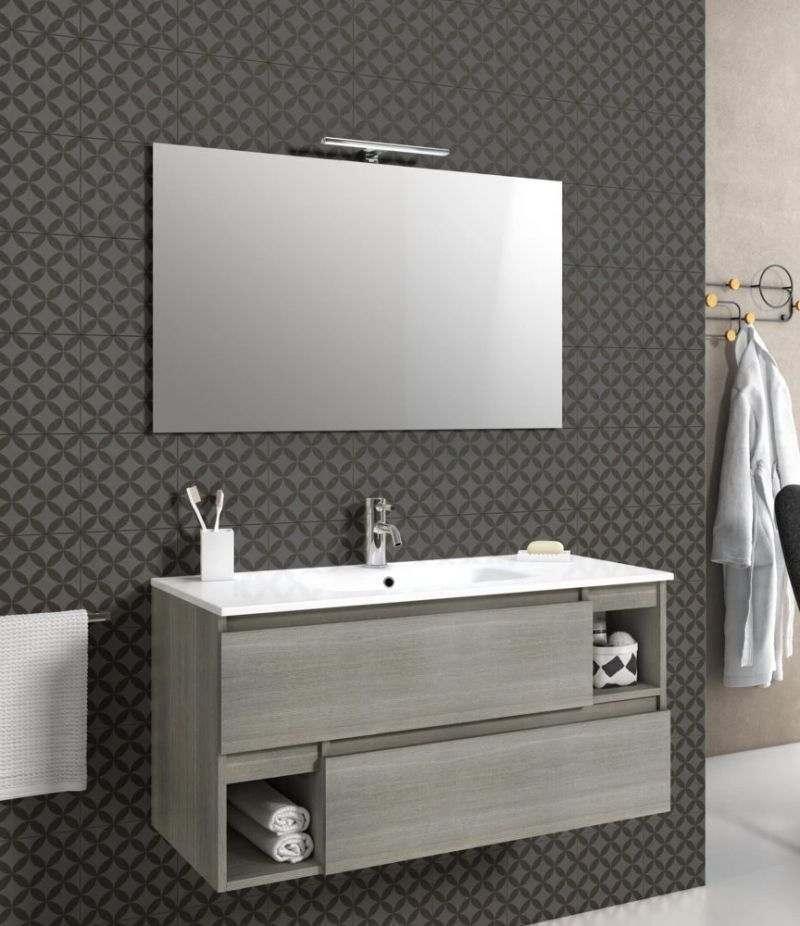 Mobile bagno sospeso 100 cm Grigio londra con due cassetti, specchio, LED e lavabo