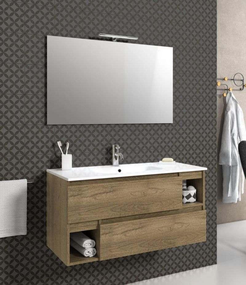 Mobile bagno sospeso 100 cm Rovere miele con due cassetti, specchio, LED e lavabo