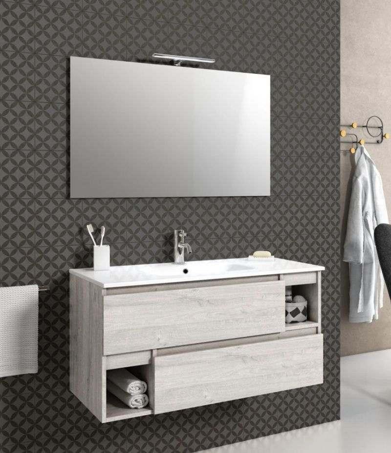 Mobile bagno sospeso 100 cm Sherwood naturale con due cassetti, specchio, LED e lavabo