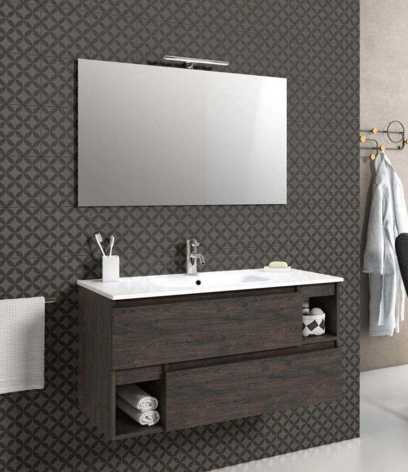 Mobile bagno sospeso 100 cm Testa di moro con due cassetti, specchio, LED e lavabo