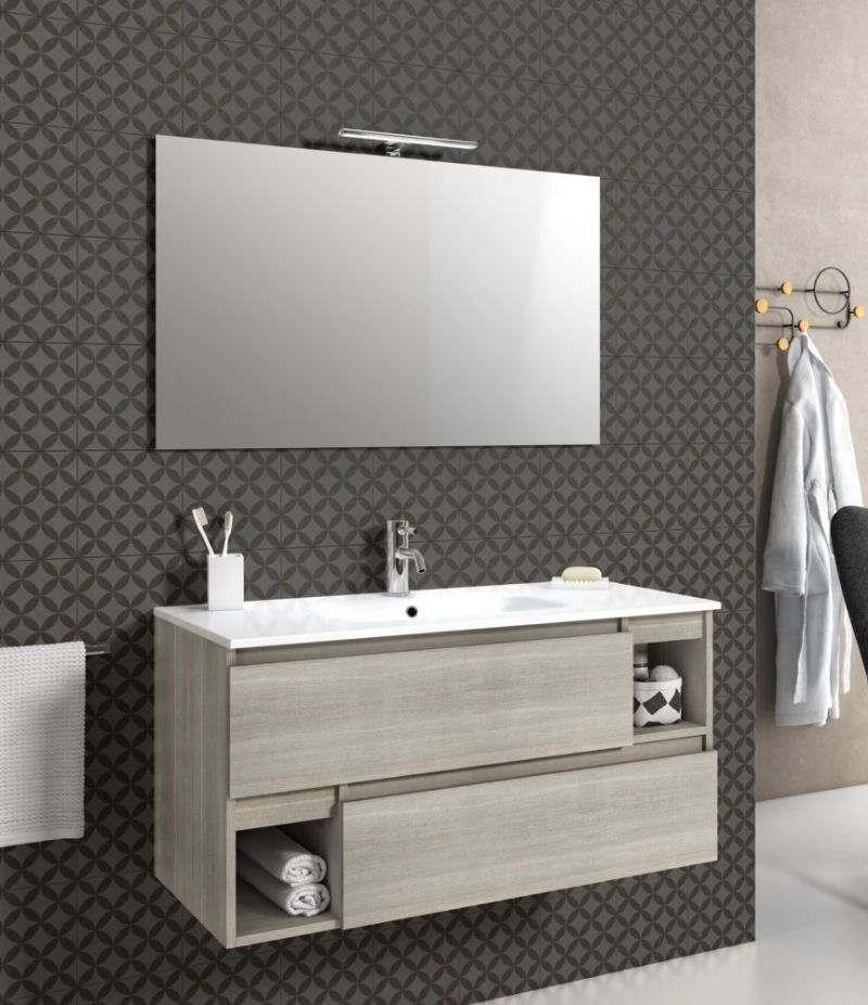Mobile bagno sospeso 100 cm Yuta con due cassetti, specchio, LED e lavabo