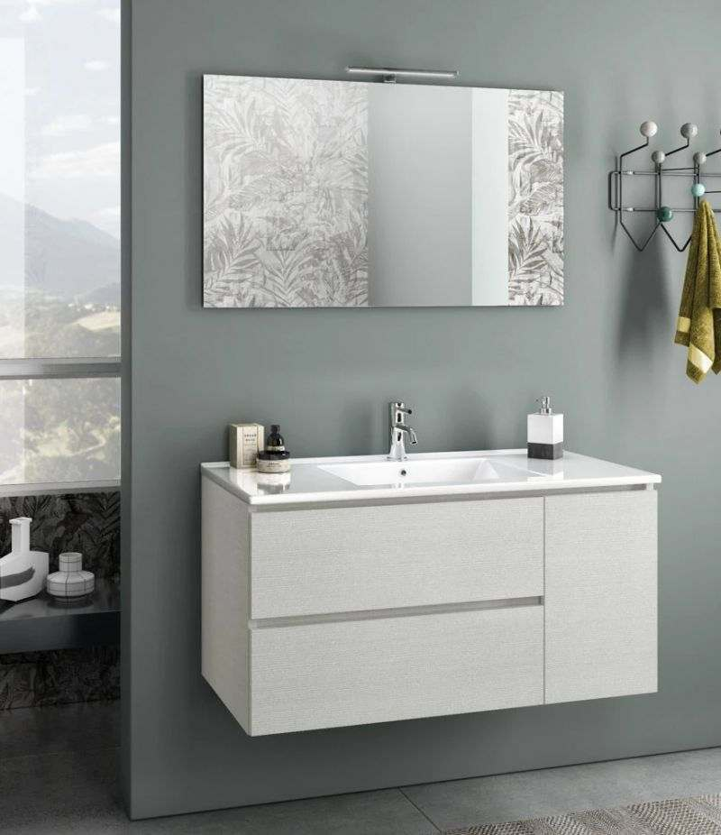 Mobile bagno sospeso Heart 100 cm Bianco londra con due cassetti, specchio, LED e lavabo