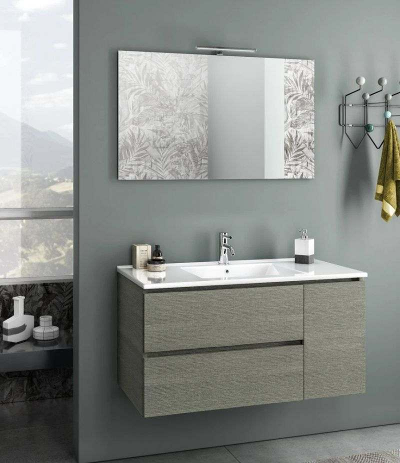 Mobile bagno sospeso Heart 100 cm grigio londra con due cassetti, specchio, LED e lavabo