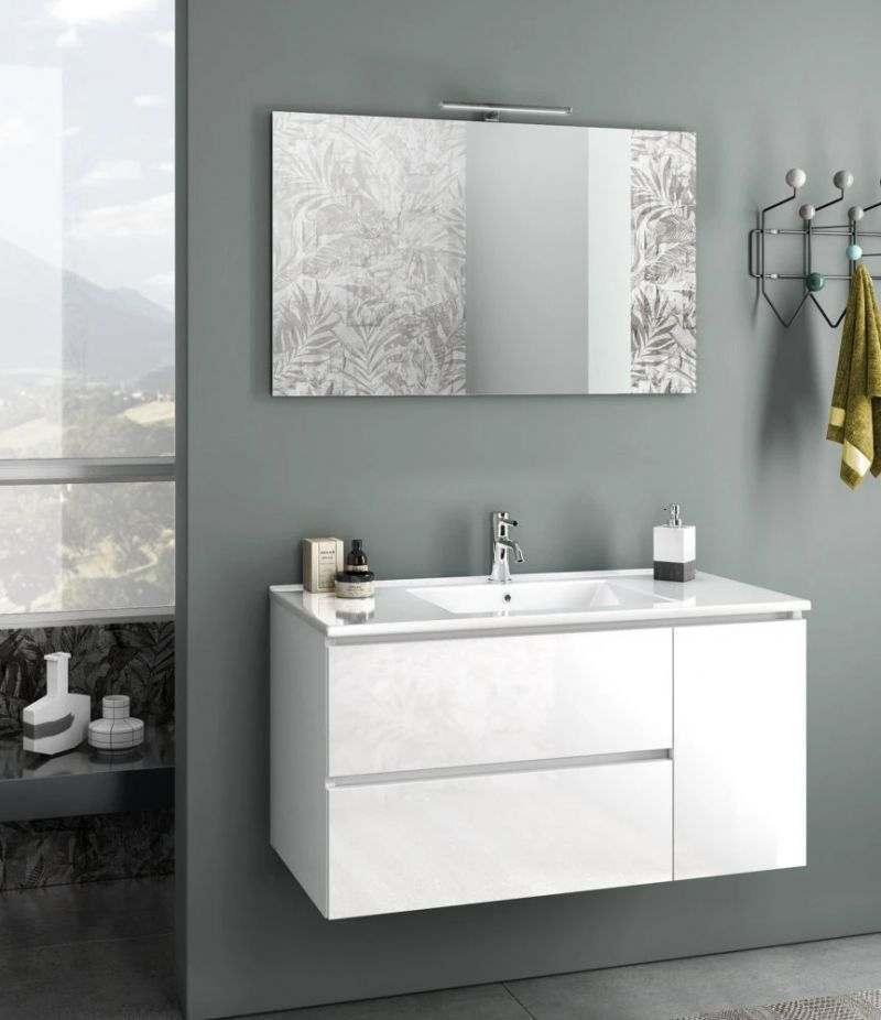 Mobile bagno sospeso Heart 100 cm Bianco lucido con due cassetti, specchio, LED e lavabo