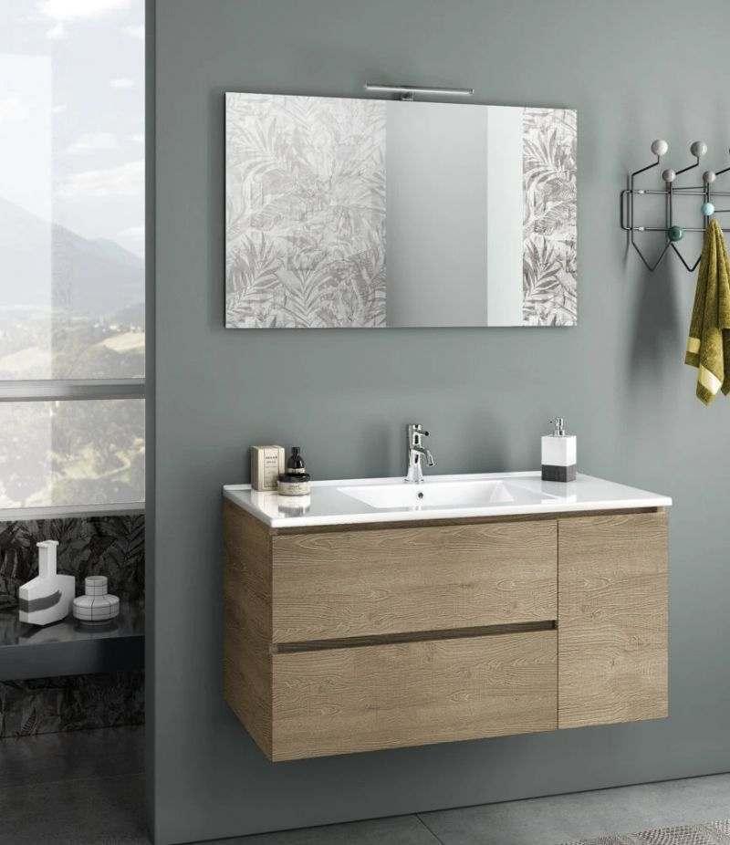 Mobile bagno sospeso Heart 100 cm miele con due cassetti, specchio, LED e lavabo