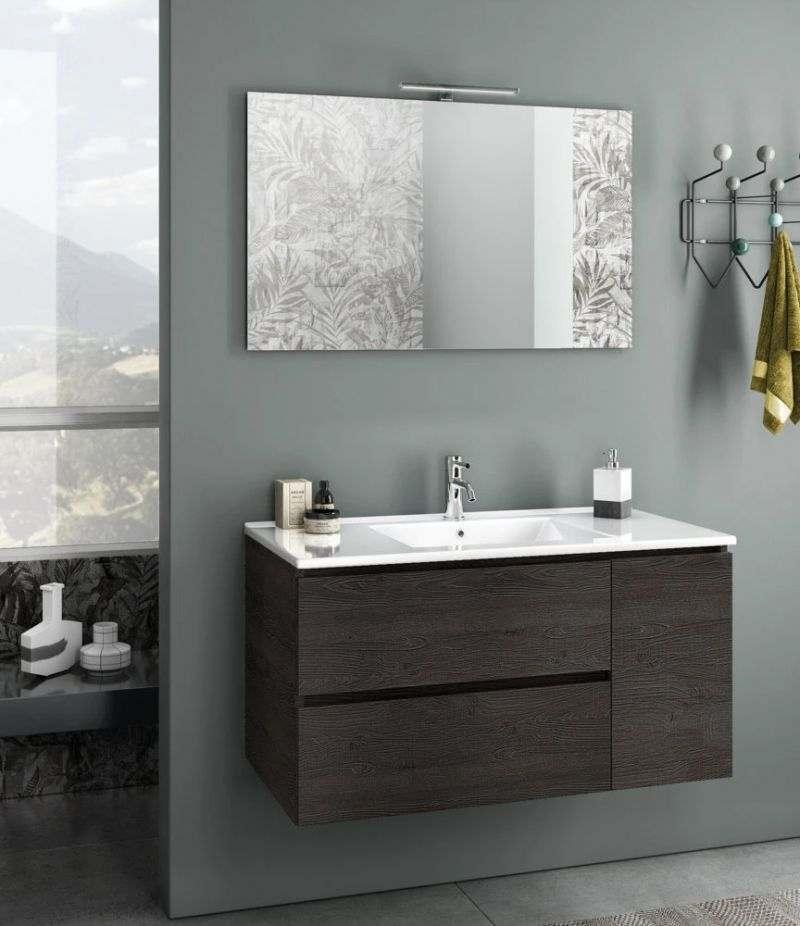 Mobile bagno sospeso Heart 100 cm Testa di moro con due cassetti, specchio, LED e lavabo