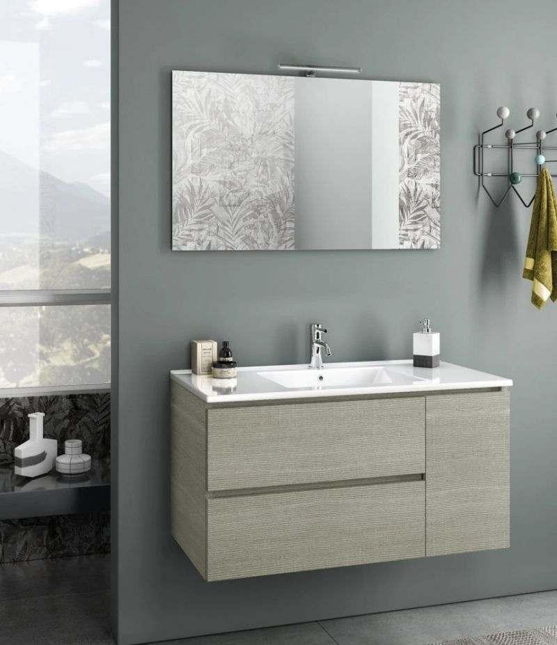 Mobile bagno sospeso Heart 100 cm Yuta con due cassetti, specchio, LED e lavabo