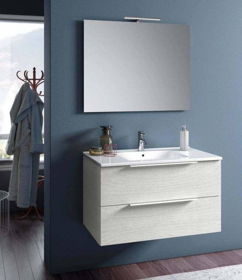 Mobile bagno sospeso Rain 80 cm Bianco londra con due cassetti, specchio, LED e lavabo