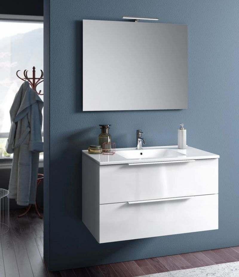 Mobile bagno sospeso Rain 80 cm Bianco lucido con due cassetti, specchio, LED e lavabo