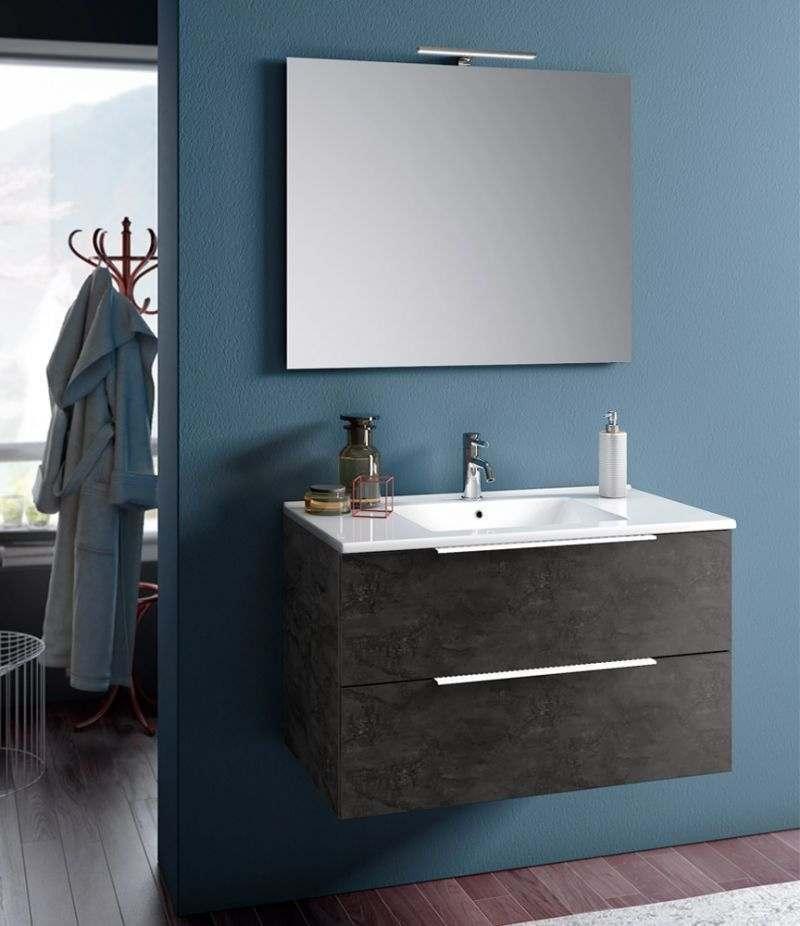Mobile bagno sospeso Rain 90 cm Ossido con due cassetti, specchio, LED e lavabo