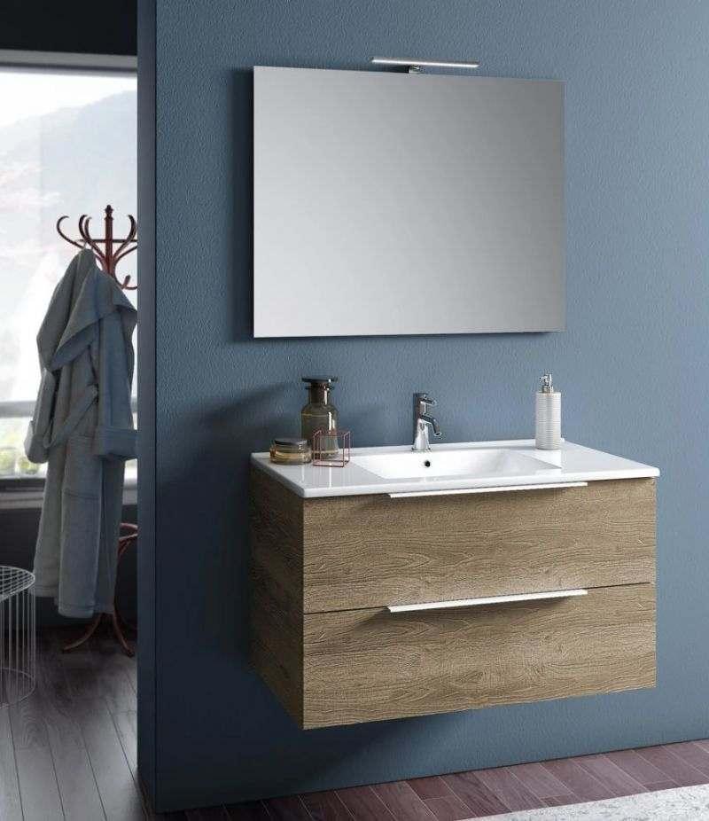 Mobile bagno sospeso Rain 90 cm Rovere miele con due cassetti, specchio, LED e lavabo