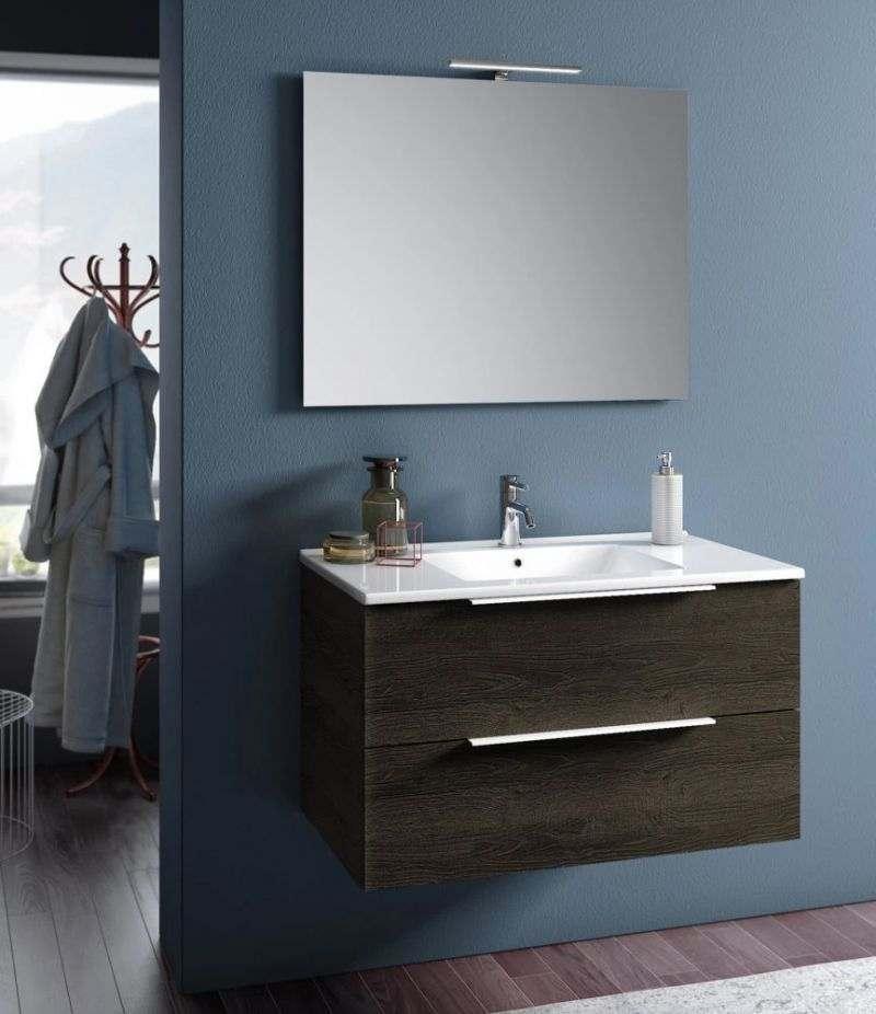 Mobile bagno sospeso Rain 90 cm Wengè con due cassetti, specchio, LED e lavabo