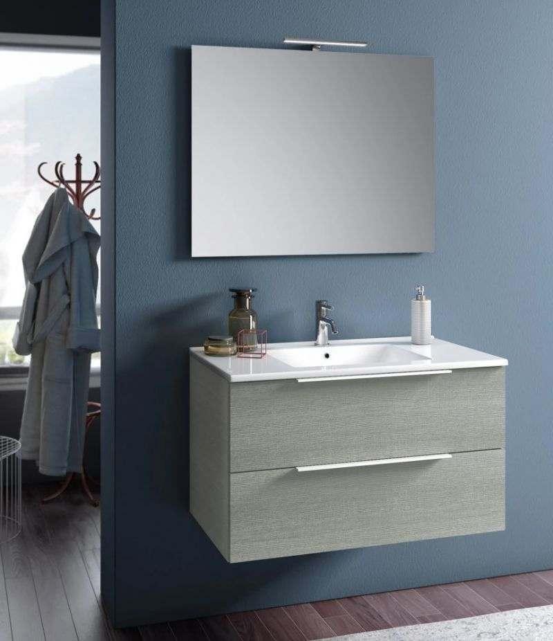 Mobile bagno sospeso Rain 90 cm Yuta con due cassetti, specchio, LED e lavabo