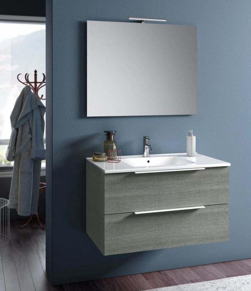 Mobile bagno sospeso Rain 100 cm Grigio londra con due cassetti, specchio, LED e lavabo